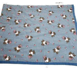 Handmade American Flag Teddy Bear Blue Quilt 52x41